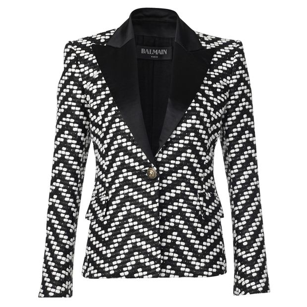A Balmain Structured-Notch-Lapel Tweed Blazer from Style Tribute plataform and seen at veragallardo blog and site