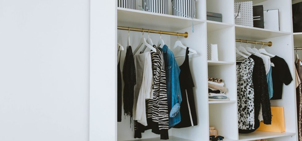 closet with some boxes in white and black and some clothes hanged like zebra patern blouse one blue sweat in veragallardo site