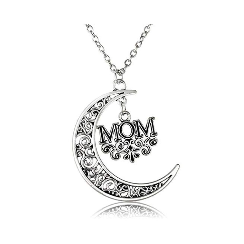 Collar Para Mamá Media Luna Colgante Con Dije Mom