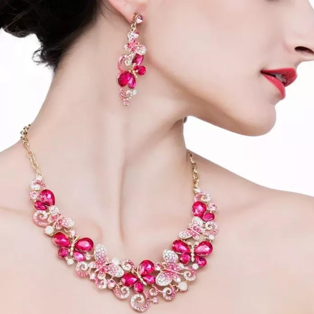 Conjunto Collar Y Pendientes Cristal Austriaco