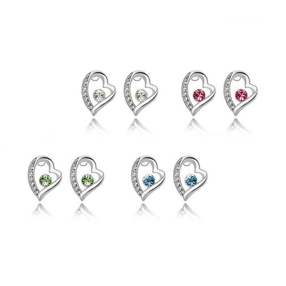 Conjunto Collar Y Aretes De Cristal Con Corazón Asimétrico