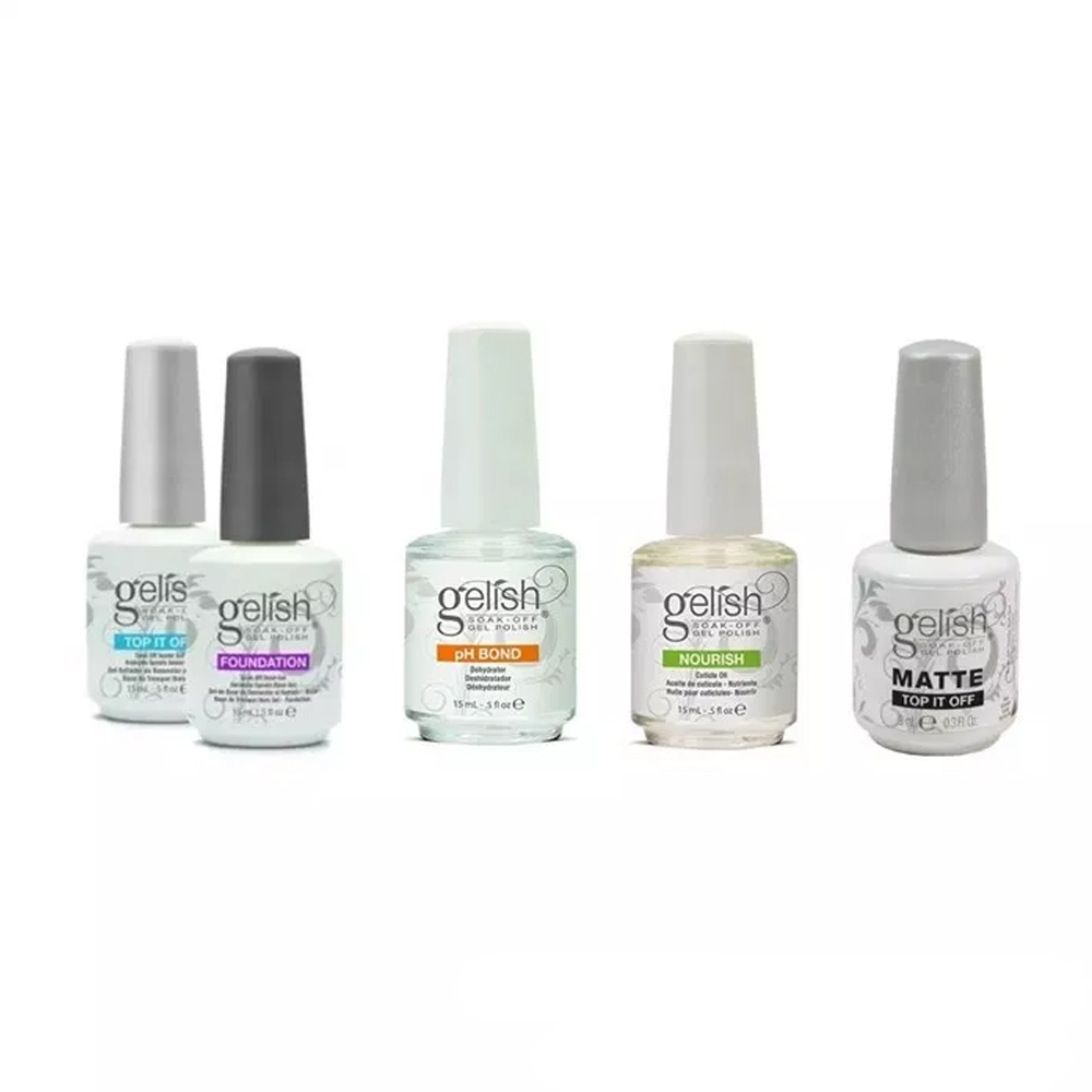 Kit 5 Gelish Top It Off Matte Ph Bond Nourish Foundation
