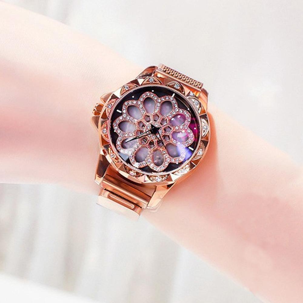 Reloj Imán Flor Con Cristales Giratoria De Acero Inoxidable
