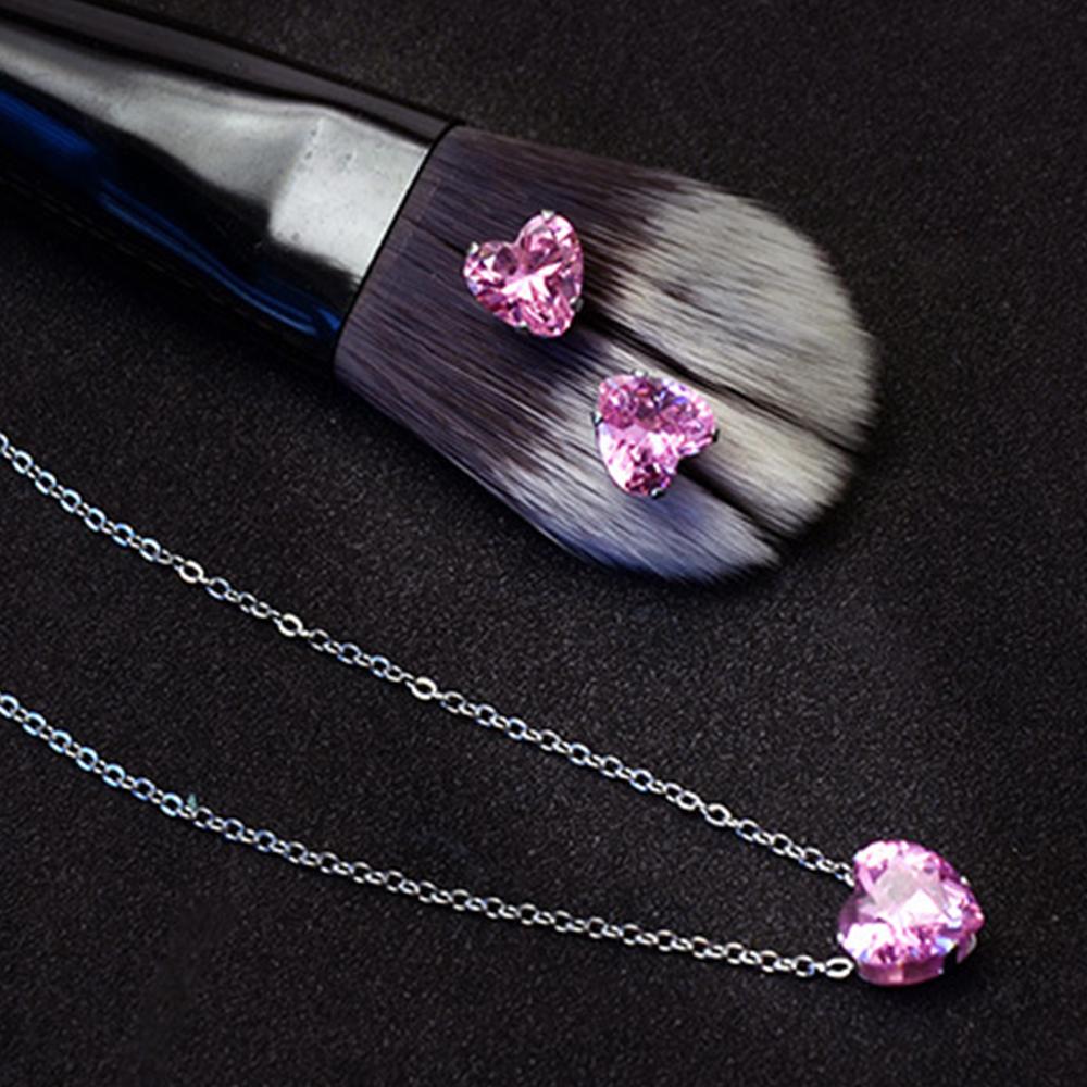 Conjunto Joyería Duo Collar Y Aretes De Corazón Color Rosa