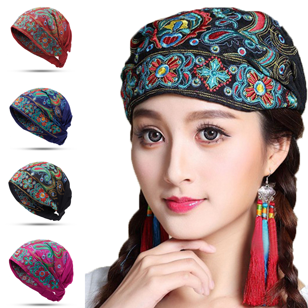 Diadema Tipo Turbante Gorro Bordado