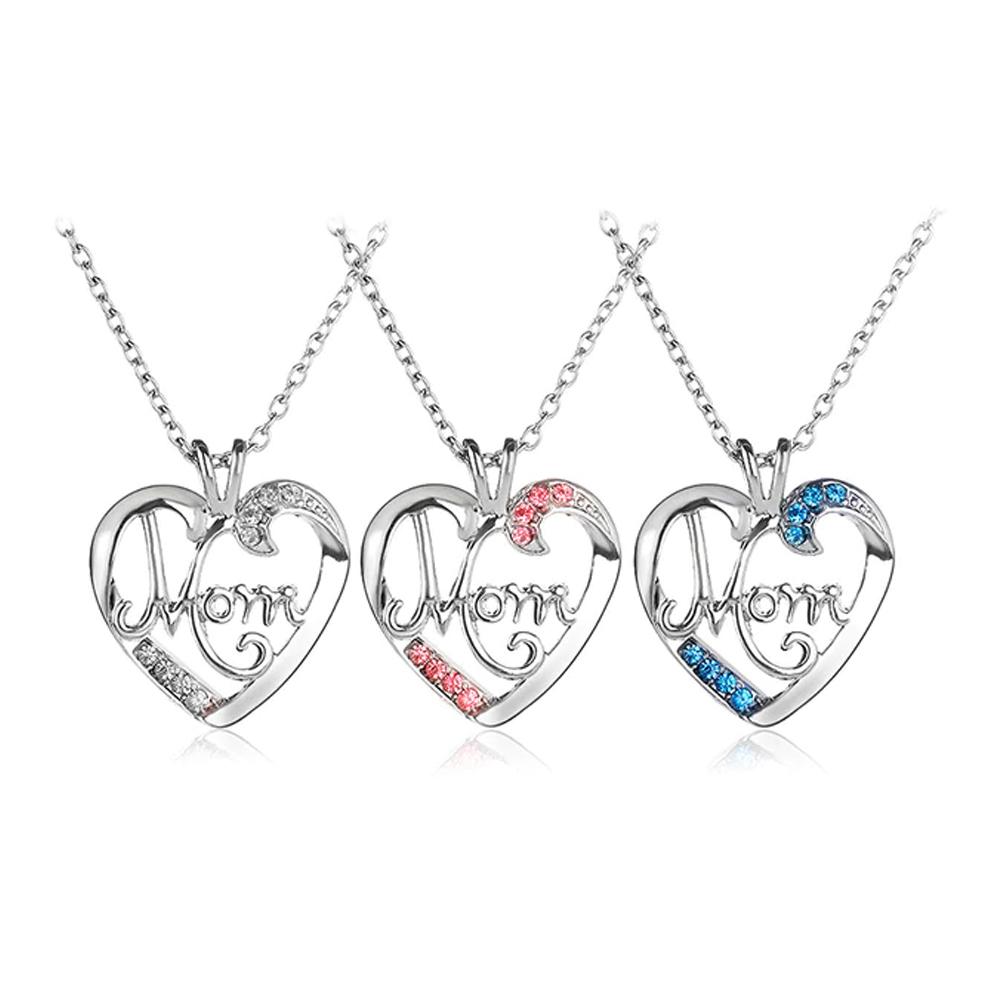 Collar De Corazón Mom Cristal Con Cadena De Eslabones