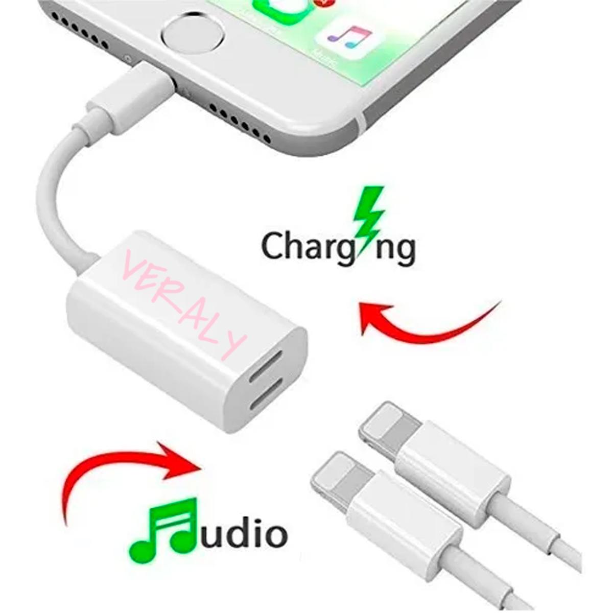 Adaptador Doble Lightning Audio-Carga Con Salida Lightning