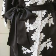 Satin Kimono with hand Appliquéd French Cotton Lace- personal wardrobe