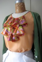 Blouse with ruffles made from a vintage scarf- personal wardrobe