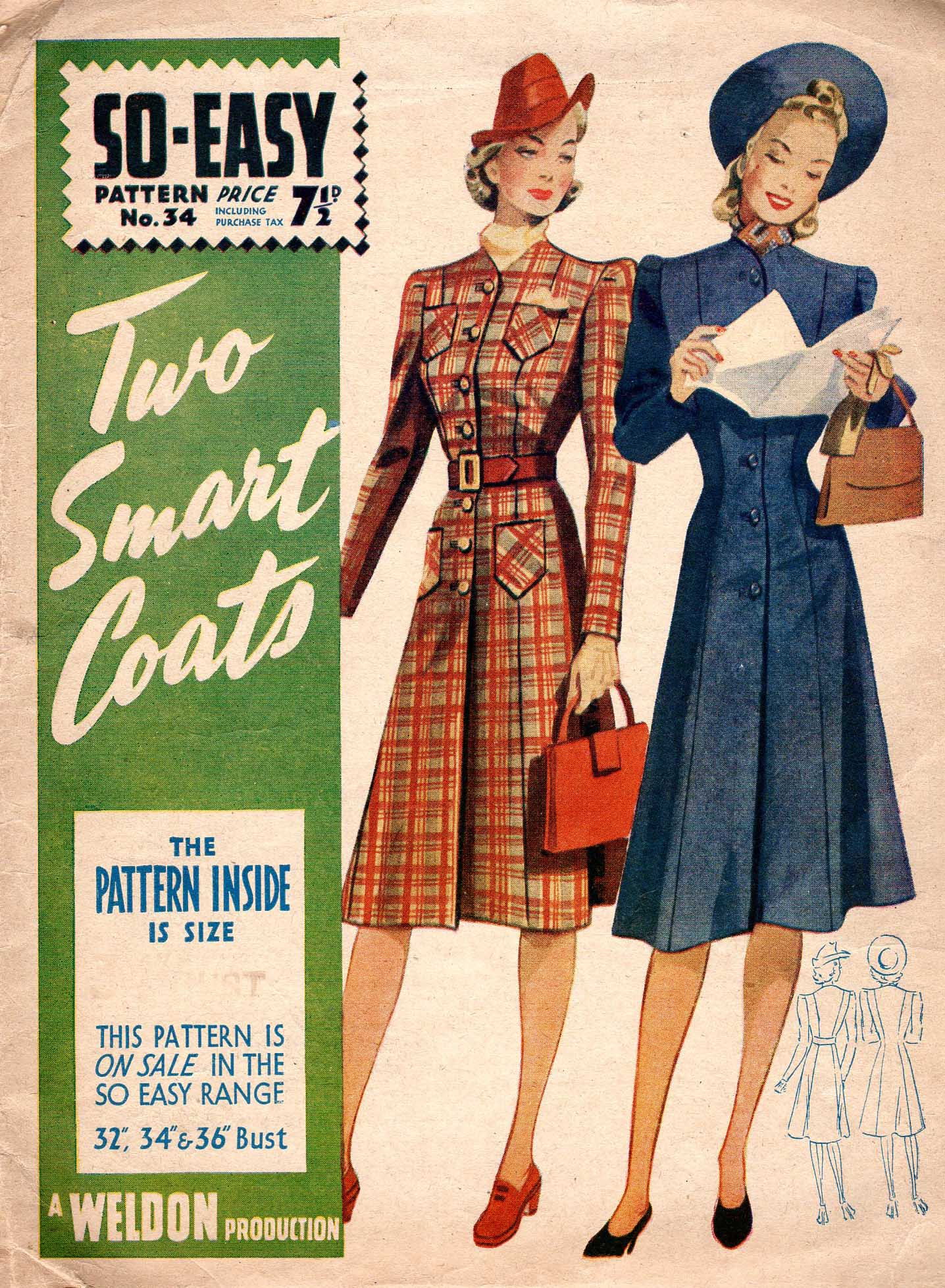1940s English coat pattern - Weldon's So-Easy 34