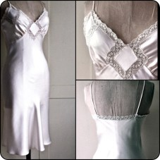 Bias slip, white satin with lace insertion