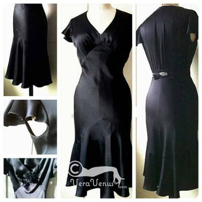 photos of VeraVenus 1930s style black bias dress