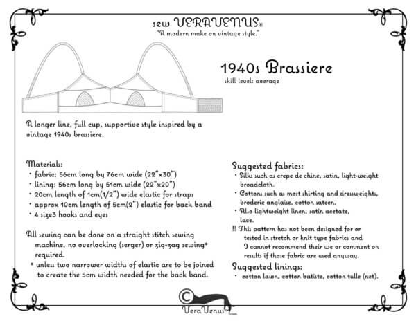 fabric information with image of Veravenus 1940s brassiere pattern