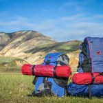 Two hiking packs in a field