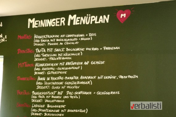 Meni u studentskom hostelu Meininger
