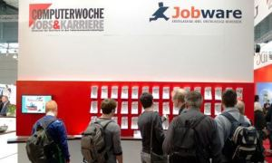 Jobseekers at the CeBIT technology fair in Hanover
