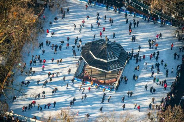 The outdoor skating rink in Hyde Park
