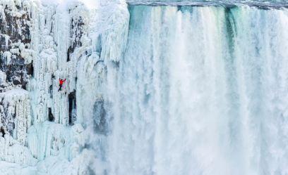 The historic ice climb of Niagara Falls