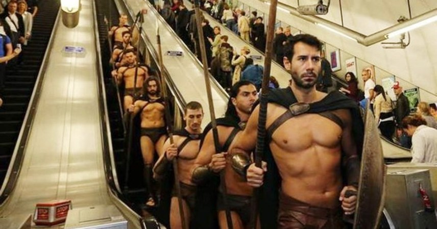 300 Spartans storming London underground - one of the best flash mobs