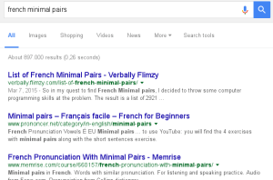"I hold the top spot on Google for ""French minimal pairs"""