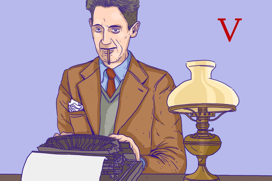 Illustration of George Orwell at his typewriter