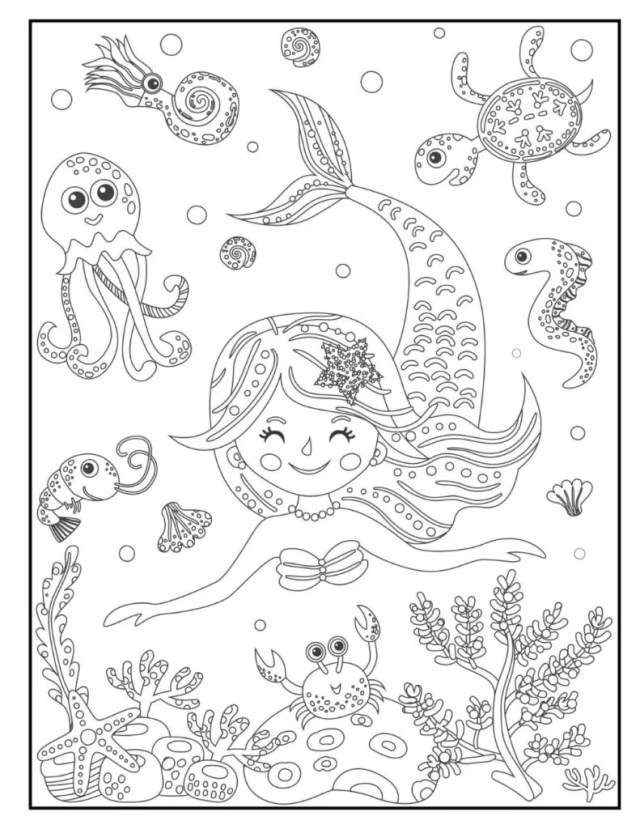 Free Mermaid Coloring Pages for Download (Printable PDF) - VerbNow