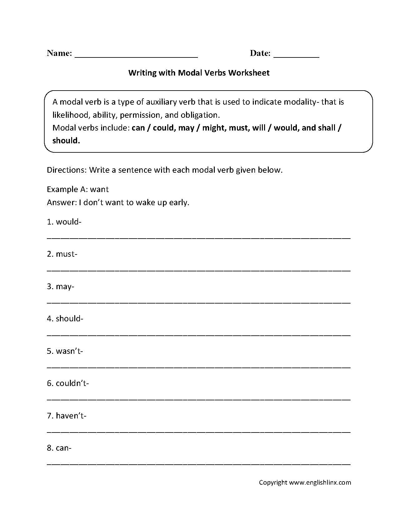 Verbs Worksheet Class 7