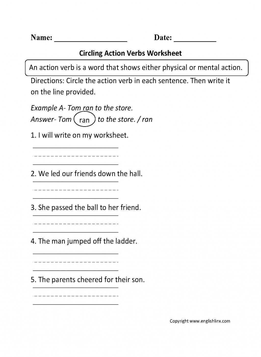 Action Verbs Worksheet For Grade 1