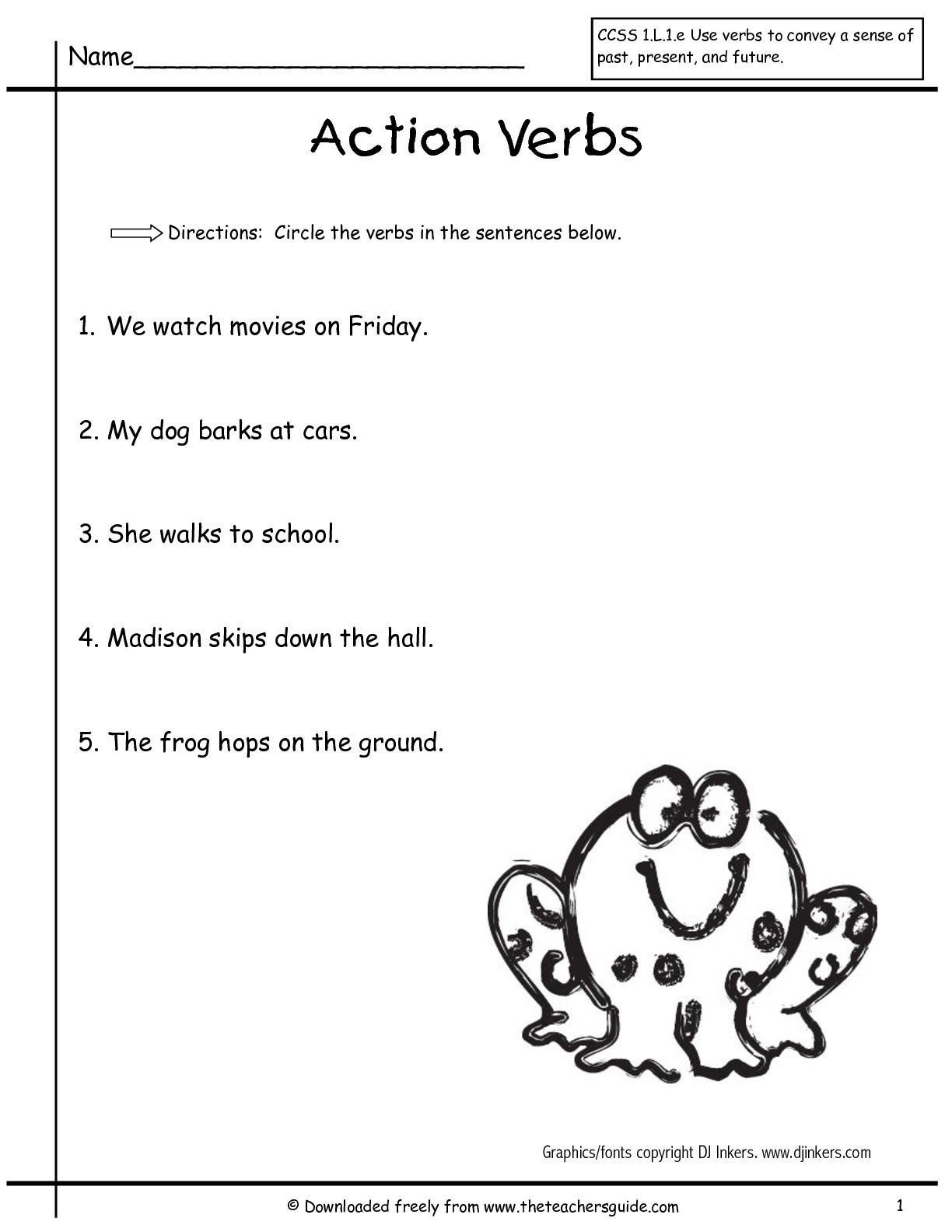 Action Verb Worksheets For Grade 1