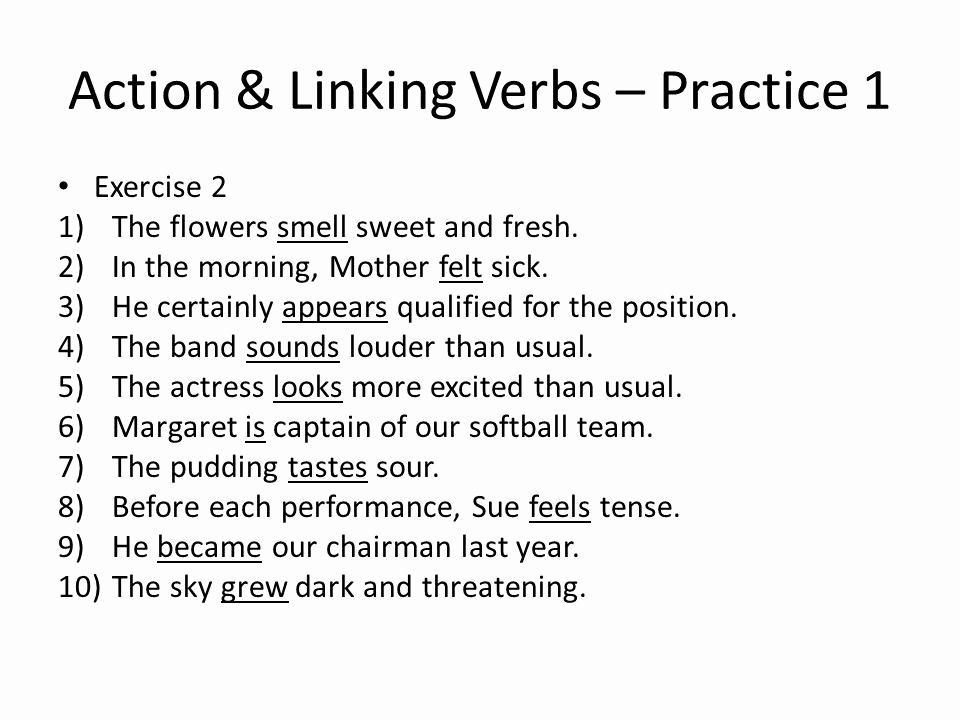 Linking Verb Exercises For Grade 4 Verbs Worksheet