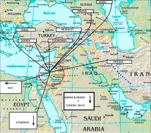 Mapa bíblico de la invasión a Israel conocida como la Guerra de Gog y Magog