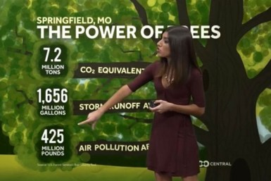 Elisa Raffa, the morning meteorologist at KOLR 10 in Springfield, Missouri, presents a climate solutions segment. Courtesy of Climate Matters