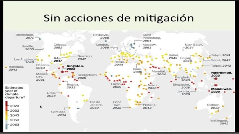 Ciudades sin acciones de mitigación contra el cambio climático. Gráfico: http://conexioncop.com/