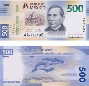 Frente y reverso del nuevo billete de 500 pesos México
