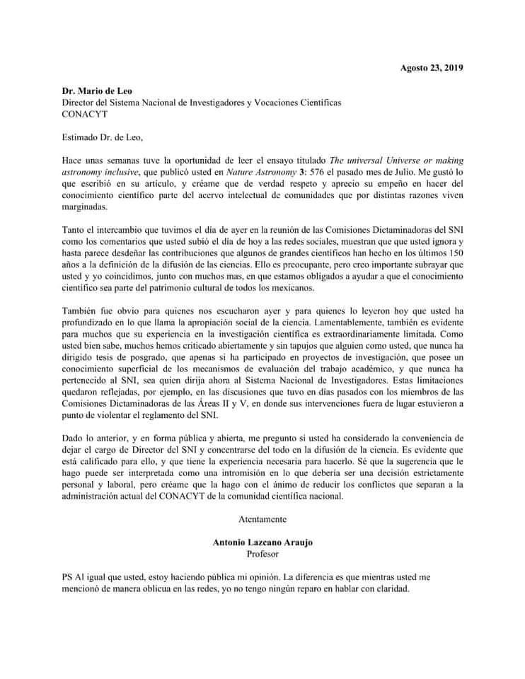 Carta de Antonio Lazcano a Mario de Leo