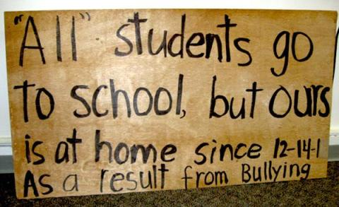 Kate's daughter left a PAUSD school after her bullying persisted. Kate presented this poster at the school board meeting on March 12, where her main complaint was that she felt her case was neglected by school and district staff from whom she seeked help.