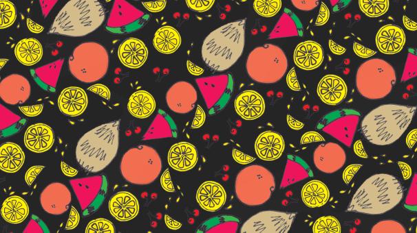 fruit wallpaper, oranges, lemons, cherries, watermelon and coconut pattern