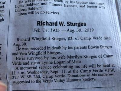 Memorial donation in the name of Richard W. Sturges