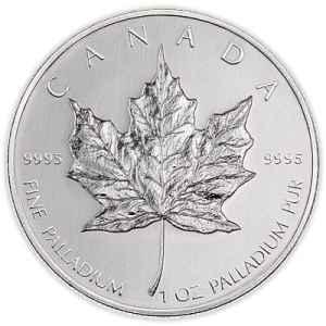Palladium zilveren munt als belegging. Een maple leaf in dit geval.