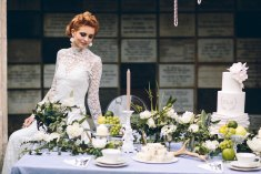 Bones Flowers Cemetery Wedding chandelier pearls feathers white inspiration taxidermy event design decoration Jessica Charleston The Flower Hive Fruit