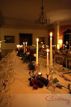 North Cadbury Court Styling Design Candlelight Dinner Fruit Red Berry Wine Colours Glass Art Nouveau