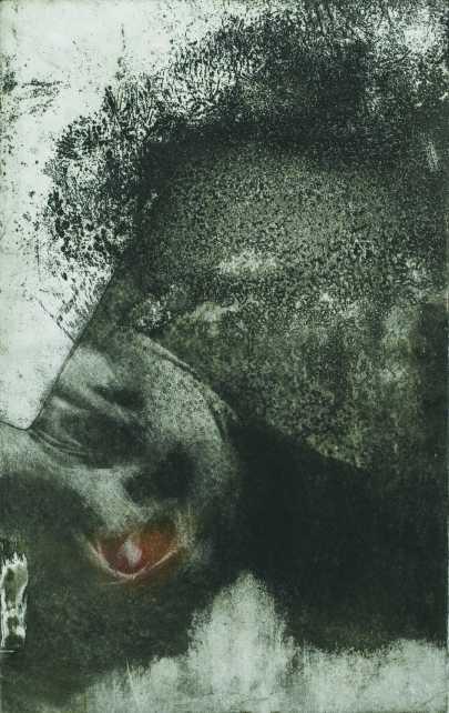 Bozótban rejtőzködő, aquatinta, 1992