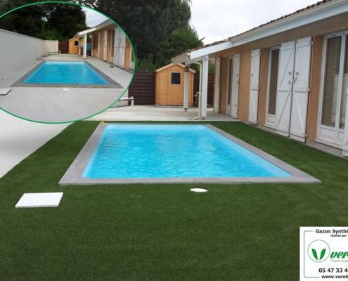 pose de gazon synthétique autour d'une piscine sur une dalle béton