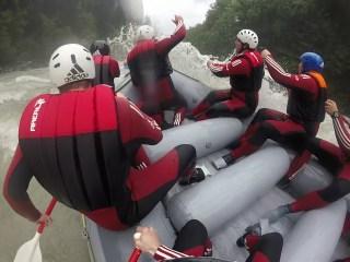 Beim Rafting wurde es ordentlich nass