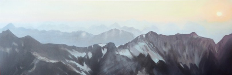 painting of western austrian alps tyrol at sundown, by verena baur, verenabaur.com