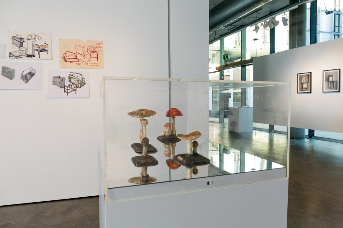 (left to right) Bonita Bub, Plans for display of fungi and found German love letter, pen and ink on paper, dimensions variable, 2016. Macleay Museum fungi models in the vitrine. Consuelo Cavaniglia, Untitled, 2016, airbrushed pigment ink on archival paper, 760 x 560 mm. Image by Document Photography.