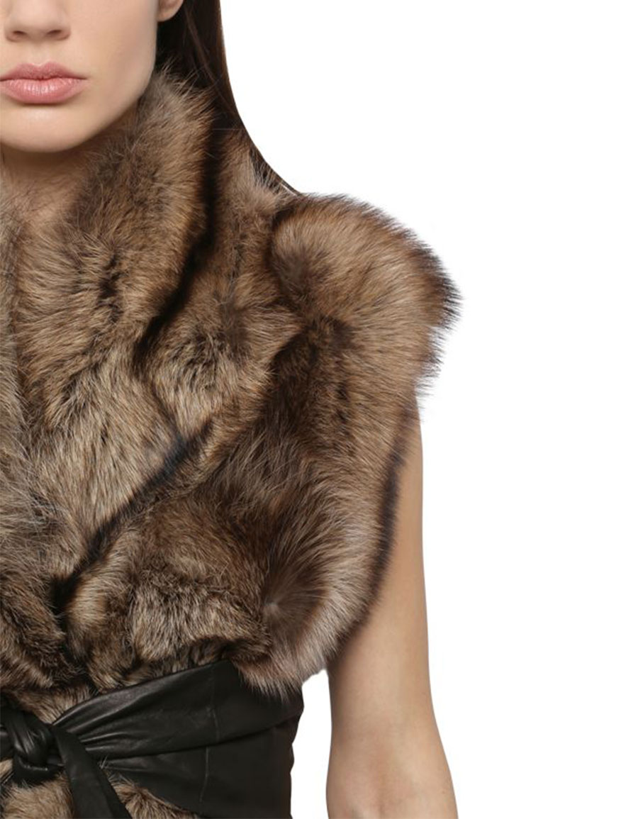 RICK OWENS KANGAROO LEATHER & FISHER FUR WRAP