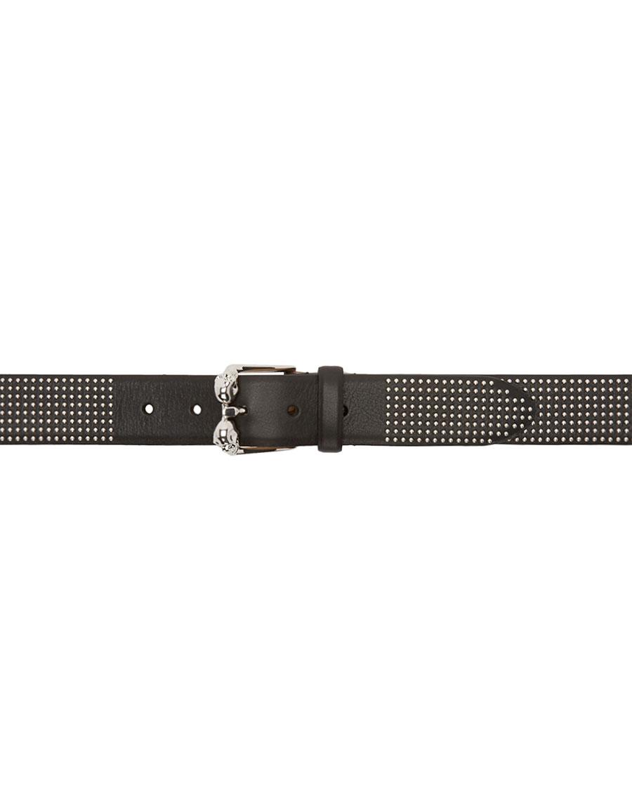 ALEXANDER MCQUEEN Black Leather Studded Skull Belt