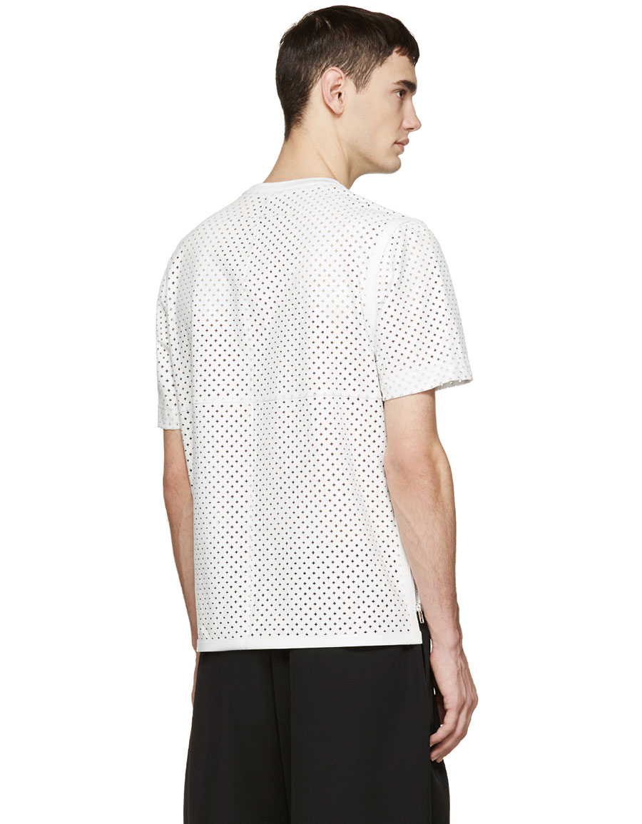 GIVENCHY White Perforated Leather T Shirt