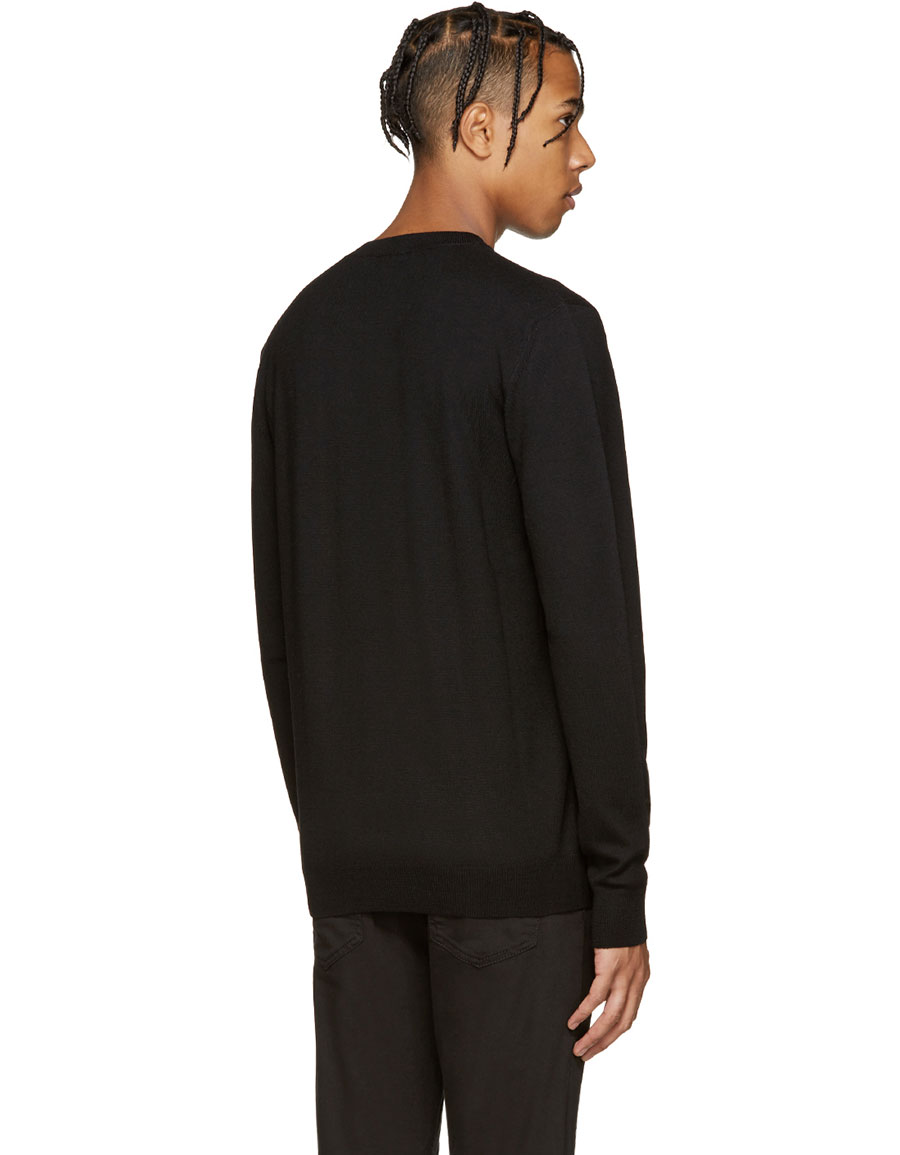 ALEXANDER MCQUEEN Black Geometric Patch Pullover